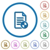 Document protect icons with shadows and outlines - Document protect flat color vector icons with shadows in round outlines on white background