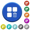 Delete component beveled buttons - Delete component round color beveled buttons with smooth surfaces and flat white icons