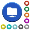 Network folder beveled buttons - Network folder round color beveled buttons with smooth surfaces and flat white icons