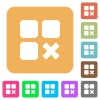 Component cancel rounded square flat icons - Component cancel flat icons on rounded square vivid color backgrounds.