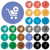 Add item to cart round flat multi colored icons - Add item to cart multi colored flat icons on round backgrounds. Included white, light and dark icon variations for hover and active status effects, and bonus shades on black backgounds.