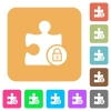 Lock plugin rounded square flat icons - Lock plugin flat icons on rounded square vivid color backgrounds.
