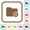 Lock directory simple icons - Lock directory simple icons in color rounded square frames on white background