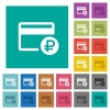 Ruble credit card square flat multi colored icons - Ruble credit card multi colored flat icons on plain square backgrounds. Included white and darker icon variations for hover or active effects.