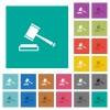 Auction hammer square flat multi colored icons - Auction hammer multi colored flat icons on plain square backgrounds. Included white and darker icon variations for hover or active effects.
