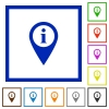GPS map location information flat framed icons - GPS map location information flat color icons in square frames on white background