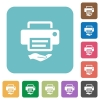 Shared printer rounded square flat icons - Shared printer white flat icons on color rounded square backgrounds