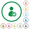 User home flat icons with outlines - User home flat color icons in round outlines on white background