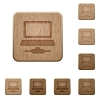 Network computer flat framed icons on rounded square carved wooden button styles - Network computer flat framed icons wooden buttons