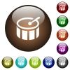 Drum square color glass buttons - Drum square white icons on round color glass buttons