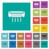 Air conditioner square flat multi colored icons - Air conditioner multi colored flat icons on plain square backgrounds. Included white and darker icon variations for hover or active effects.