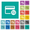 Shekel credit card square flat multi colored icons - Shekel credit card multi colored flat icons on plain square backgrounds. Included white and darker icon variations for hover or active effects.