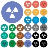 Radiation round flat multi colored icons - Radiation multi colored flat icons on round backgrounds. Included white, light and dark icon variations for hover and active status effects, and bonus shades on black backgounds.
