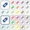 Bitcoin price label outlined flat color icons - Bitcoin price label color flat icons in rounded square frames. Thin and thick versions included.