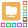 Network folder flat icons on rounded square vivid color backgrounds. - Network folder rounded square flat icons