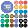 Web layout round flat multi colored icons - Web layout multi colored flat icons on round backgrounds. Included white, light and dark icon variations for hover and active status effects, and bonus shades on black backgounds.