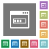 Application installing square flat icons - Application installing flat icons on simple color square backgrounds