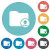 Upload directory flat round icons - Upload directory flat white icons on round color backgrounds