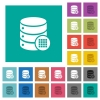 Database table cells square flat multi colored icons - Database table cells multi colored flat icons on plain square backgrounds. Included white and darker icon variations for hover or active effects.