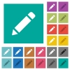 Single pencil with rubber square flat multi colored icons - Single pencil with rubber multi colored flat icons on plain square backgrounds. Included white and darker icon variations for hover or active effects.