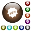 New badge color glass buttons - New badge white icons on round color glass buttons