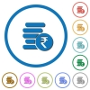 Indian Rupee coins icons with shadows and outlines - Indian Rupee coins flat color vector icons with shadows in round outlines on white background
