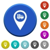 Transport service GPS map location beveled buttons - Transport service GPS map location round color beveled buttons with smooth surfaces and flat white icons
