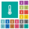 Thermometer square flat multi colored icons - Thermometer multi colored flat icons on plain square backgrounds. Included white and darker icon variations for hover or active effects.