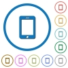 Smartphone with blank display icons with shadows and outlines - Smartphone with blank display flat color vector icons with shadows in round outlines on white background