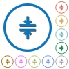 Horizontal merge tool flat color vector icons with shadows in round outlines on white background - Horizontal merge tool icons with shadows and outlines