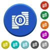 Bitcoins beveled buttons - Bitcoins round color beveled buttons with smooth surfaces and flat white icons