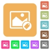 Image tagging rounded square flat icons - Image tagging flat icons on rounded square vivid color backgrounds.