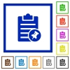 Note pin flat framed icons - Note pin flat color icons in square frames on white background