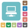 Network database rounded square flat icons - Network database white flat icons on color rounded square backgrounds