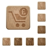 Checkout with Pound cart wooden buttons - Checkout with Pound cart on rounded square carved wooden button styles