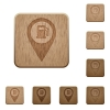 Gas station GPS map location wooden buttons - Gas station GPS map location on rounded square carved wooden button styles