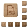 Add new document wooden buttons - Add new document on rounded square carved wooden button styles