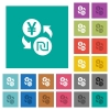 Yen new Shekel money exchange square flat multi colored icons - Yen new Shekel money exchange multi colored flat icons on plain square backgrounds. Included white and darker icon variations for hover or active effects.