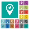 Pin GPS map location square flat multi colored icons - Pin GPS map location multi colored flat icons on plain square backgrounds. Included white and darker icon variations for hover or active effects.