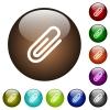 Attachment color glass buttons - Attachment white icons on round color glass buttons