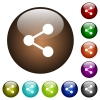 Share color glass buttons - Share white icons on round color glass buttons