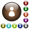 Single user color glass buttons - Single user white icons on round color glass buttons