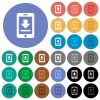 Mobile download multi colored flat icons on round backgrounds. Included white, light and dark icon variations for hover and active status effects, and bonus shades on black backgounds. - Mobile download round flat multi colored icons