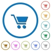 Empty shopping cart icons with shadows and outlines - Empty shopping cart flat color vector icons with shadows in round outlines on white background