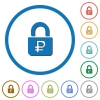 Locked Rubles icons with shadows and outlines - Locked Rubles flat color vector icons with shadows in round outlines on white background