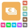 Euro banknotes rounded square flat icons - Euro banknotes flat icons on rounded square vivid color backgrounds.