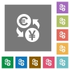 Euro Yen money exchange flat icons on simple color square backgrounds