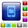 Smartphone data storage color square buttons - Smartphone data storage icons in rounded square color glossy button set