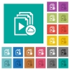 Cloud playlist square flat multi colored icons - Cloud playlist multi colored flat icons on plain square backgrounds. Included white and darker icon variations for hover or active effects.