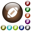 Rugby ball color glass buttons - Rugby ball white icons on round color glass buttons